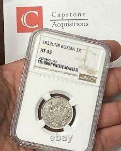 1832 CNB Czar Nicholas I Imperial Russia 3 Ruble Platinum NGC XF45 Very Rare