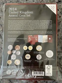 2014 Royal Mint Annual Brilliant Uncirculated 14 Coin Set Sealed Very Rare