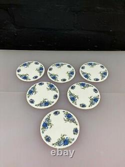 6 x Royal Albert Moonlight Rose Round Ceramic Coasters 3.5 Wide VERY RARE 2nd