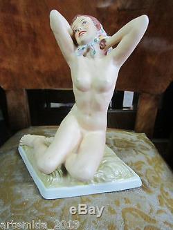 ANTIQUE VERY RARE Royal Dux Porcelain Sculpture Nude Woman Art Deco 1920s