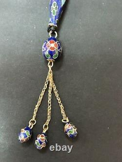 Antique Enameled 925 Silver Prayers Beads 33 Beads Rosary Very Rare Royal Blue