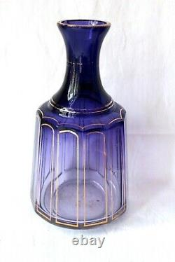 Antique French Baccarat Cannelures Royal Purple vanity set, very rare, c 1910