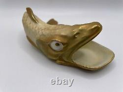 Antique Very Rare Royal Worcester Shot Enamelled Fish Made 1907