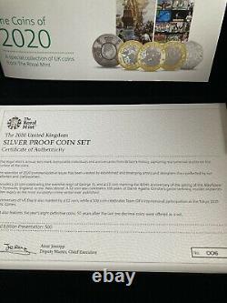 COA 006 2020 Royal Mint Silver Proof Annual Coin Set Inc Team GB 50p Very Rare