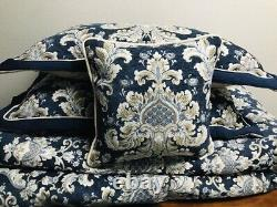 Croscill Blue Imperial Damask 5 Piece King Comforter Full Set Very Rare