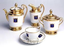 EXCLUSIVE Russian Imperial Lomonosov Porcelain Tea set Cottage Gold Very Rare