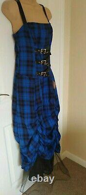 New Very Rare Lip Service Royal Blue Tartan Gothic Prom Dress Cyberpunk Size M