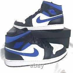 Nike Air Jordan 1 Mid White Black Royal Blue 554724-140 Mens Size 14 Very Rare