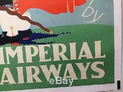 Original Vintage Airline Travel Poster Imperial Airways 1935 Europe Very Rare