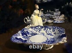 REDUCEDVery rare 1917 Antique Royal Crown Derby BLUE MIKADO CENTERPEICE