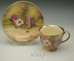 ROYAL WINTON GRIMWADES ANTIQUE POPPY ANEMONE CUP AND SAUCER VERY RARE gold rim
