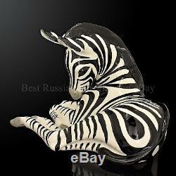 RUSSIAN Imperial Lomonosov Porcelain Sculpture Figurine Big Zebra Very Rare
