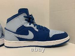 Rare Very Clean Air Jordan 1 Mid Team Royal Ice Blue size 10 554724-400