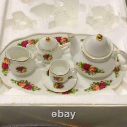 Royal Albert Mini Tea Set Old Country Rose Very Rare Cup Saucer Pot Tray Kitchen