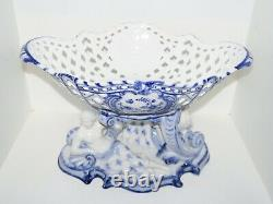 Royal Copenhagen Blue Fluted Full Lace, very rare and large fruit bowl on stand