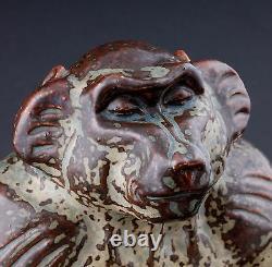 Royal Copenhagen, Knud Kyhn. LARGE Monkey / Gorilla / Baboon # 20132. VERY RARE