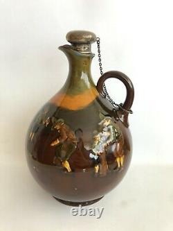 Royal Doulton Kingsware Golf Golfing Whiskey Bottle Jug Flask Silver VERY RARE