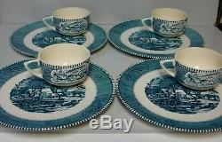 Royal USA CURRIER & IVES (BLUE) Snack Sets SET OF FOUR Mint in BOX VERY RARE