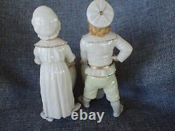 Royal Worcester Figurines PAIR c. 1882 BOY & GIRL WITH BASKET VERY VERY RARE