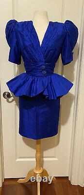 Saint Romei VTG Neiman Marcus Royal Blue Peplum Silk Skirt Suit Sz-6VERY RARE