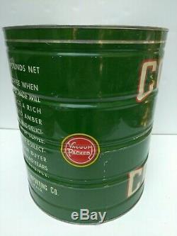 VERY RARE ANTIQUE VINTAGE KEYWIND COFFEE TIN CAN ROYAL CORONA 15lb HUGE SIZE