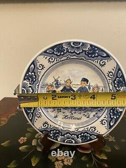 VERY RARE Antique Royal Delfts Blauw Hand Painted Plate Holland Delft Blue