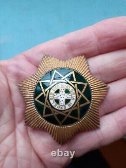 VERY RARE Mid Victorian 1876 SILVER Gilt ROYAL ORDER OF SCOTLAND Breast Star Vgc