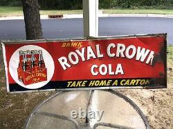 VERY RARE ROYAL CROWN COLA 6 pak SIGN 54x18 Rusty Gold / Hard To Find