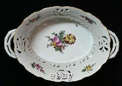 VERY RARE Royal Copenhagen Reticulated Hand Painted Fruit Bowl c. 1887 B