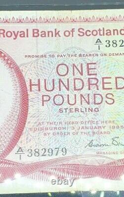 Very Rare £100 Royal Bank Of Scotland 1985 Banknote Very Fine P340 A/1 382979