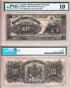 Very Rare 1909 $10 Royal Bank of Canada Multi Coloured 630-10-04-10. PMG VG10
