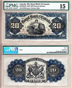 Very Rare 1909 $20 Royal Bank of Canada 630-10-04-22. PMG Certified CH Fine 15
