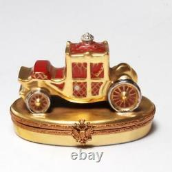Very Rare Faberge Hand-painted Limoges Porcelain Royal Coach Trinket Box