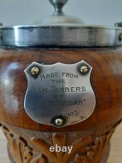 Very Rare H. M. S Akbar Royal Navy Trench Art Biscuit Barrel Treen