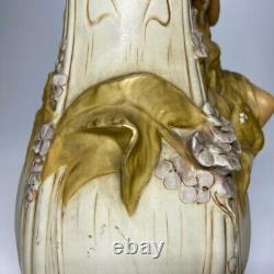 Very Rare Huge Porcelain Royal Dux Art Nouveau Lady Vase 1912