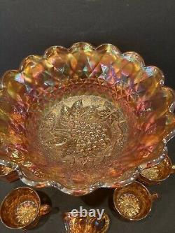 Very Rare Imperial Heavy Grape Marigold Punch Bowl With Base And 5 Cups