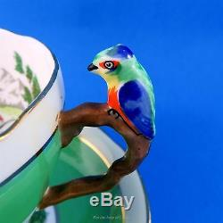 Very Rare Parrot Handle Scenic Handpainted Royal Grafton Tea Cup and Saucer Set