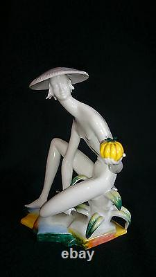 Very Rare Porcelain Royal Vienna Art Deco Nude Lady Statue 1930s