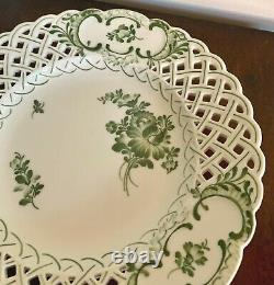 Very Rare Royal Copenhagen Green Flower Pierced Plate Bowl #1636 Pattern 110