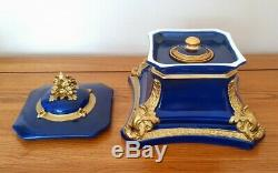 Very Rare Royal Crown Derby Cobalt Blue & Gold INK WELL c. 1911 Beautiful