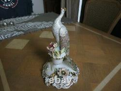 Very Rare Royal Crown Derby Peacock Figure 9.25 Inch Tall