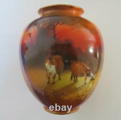 Very Rare Royal Doulton'Cattle at Dusk' vase by J Kelsall 1902 1922