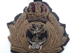 Very Rare WW1 RNR Royal Naval / Navy Reserve Officer's Padded Bullion Cap Badge