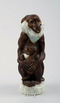 Very rare Jeanne Grut for Royal Copenhagen, Monkey with young number 4647