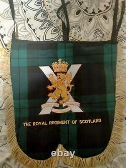 Very rare Kings own scottish borderers Pipe Banner with royal regiment on back