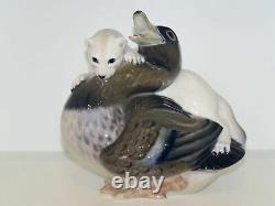 Very rare Royal Copenhagen figurine Otter attacking duck