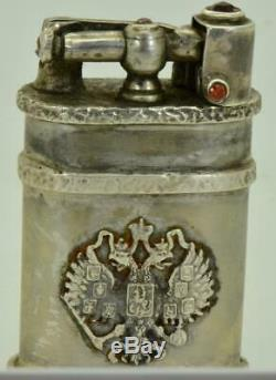 Very rare antique Imperial Russian 84 solid silver & Rubies lighter c1900's