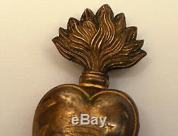 Very rare royal crown 19th Century French Gilded Brass Sacred Heart Ex Voto
