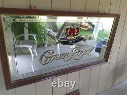 Vintage Rare Very Large Crown Royal Mirror Hard Wood Framed made in USA
