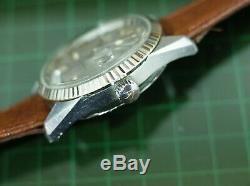 Vintage mens Invicta Royal Marine day date Compressor case screw crown very rare